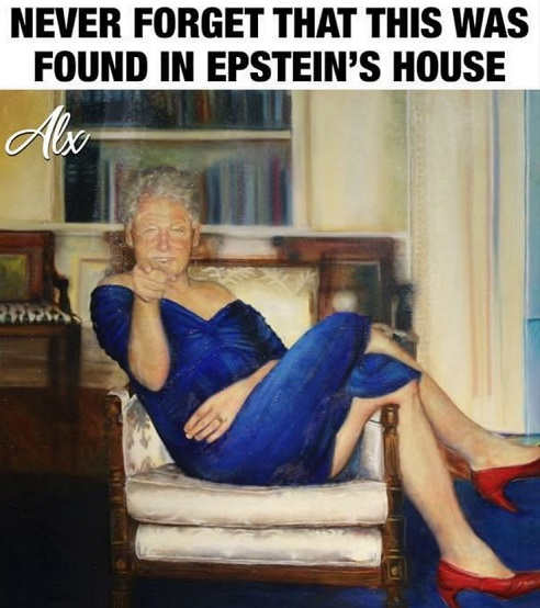 message never forget found in epstein house painting clinton blue dress
