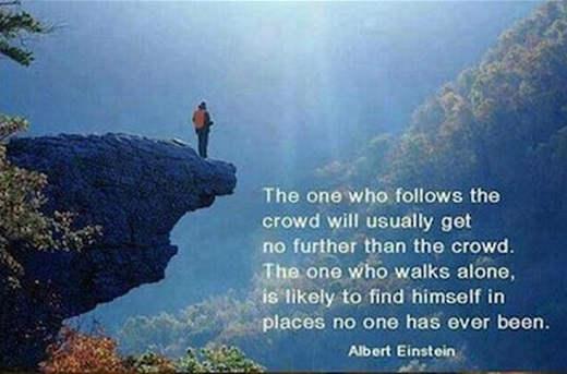 quote albert einstein one who follows crowd gets no further