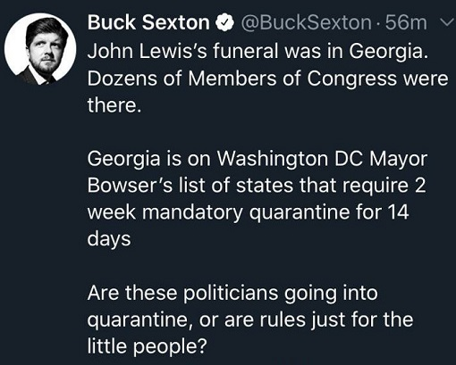 tweet buck sexton john lewis funeral dc quarantine laws just for little people