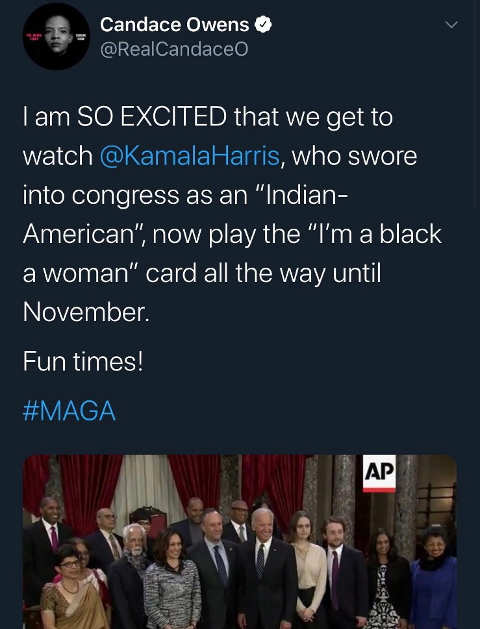 tweet candace owens excited watch kamala harris play black woman card maga