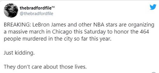 tweet lebron james other nba stars organizing march for people murdered in chicago just kidding dont care