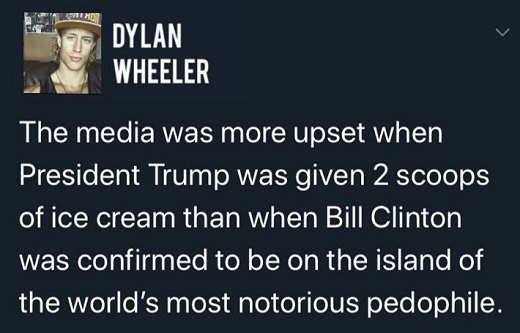 tweet media more update when trump given 2 scoops ice cream than bill clinton pedophile