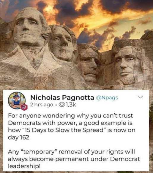 tweet nicholas pagnotta anyone wondering why cant trust democrats with power day 162 of 15 days to slow spread