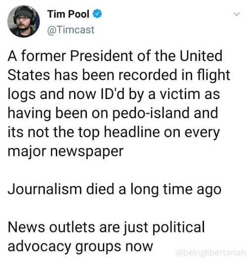 tweet pool former president id pedophile not one headline journalism died