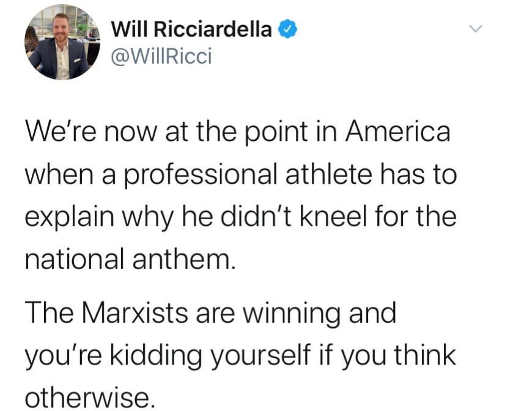 tweet were now at point where professional athlete explain why didnt kneel anthem marxists are winning