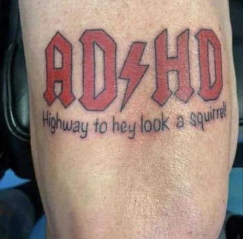 ad hd tattoo acdc highway to hey look squirrel