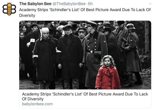 babylon bee academy strips schindlers list of oscar