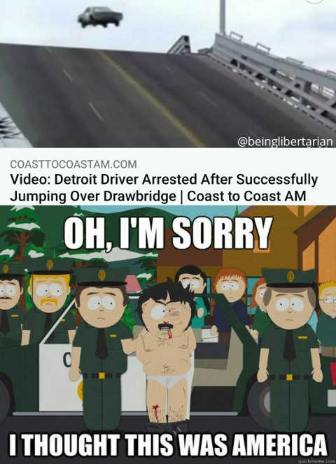 detroit driver arrested jumping over drawbridge sorry thought this was america