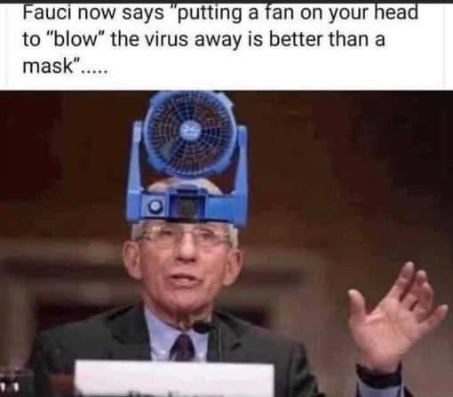 dr fauci now says putting fan on head blow away virus better than mask