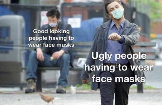 good looking vs ugly people wearing face masks