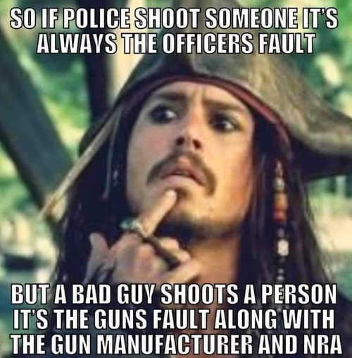 if police shoot someone officers fault bad guy gun manufacturer and nra