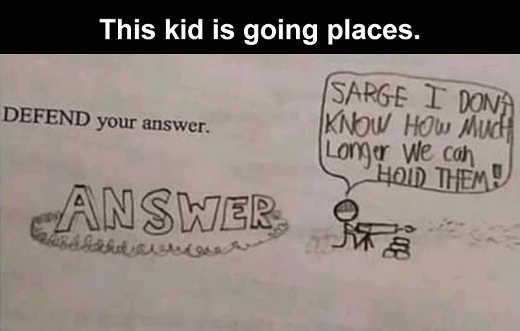 kid is going places defend your answer machine gun drawing