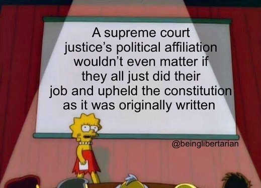 lisa simpson supreme court political affiliation wouldnt matter if just did job constitution