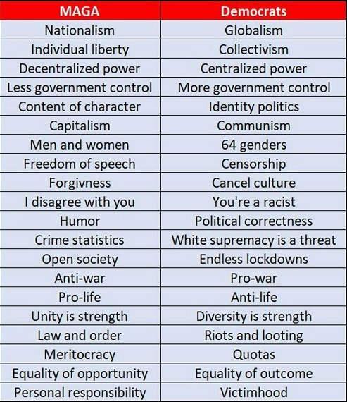 maga vs democrats comparison liberty collectivism freedom censorship law order riots victimhood