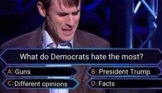 millionaire question what do democrats hate most guns different opinions trump facts