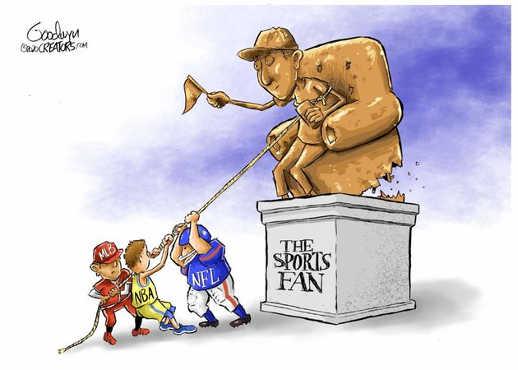 nfl nba mlb pulling down statue of sports fan
