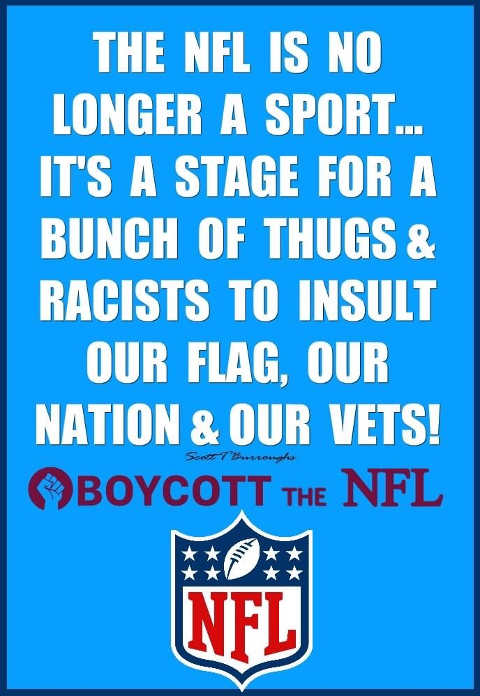 nfl no longer sport stage thugs racists insult flag nation vets boycott