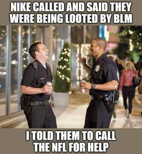 nike looted by blm call nfl for help cops