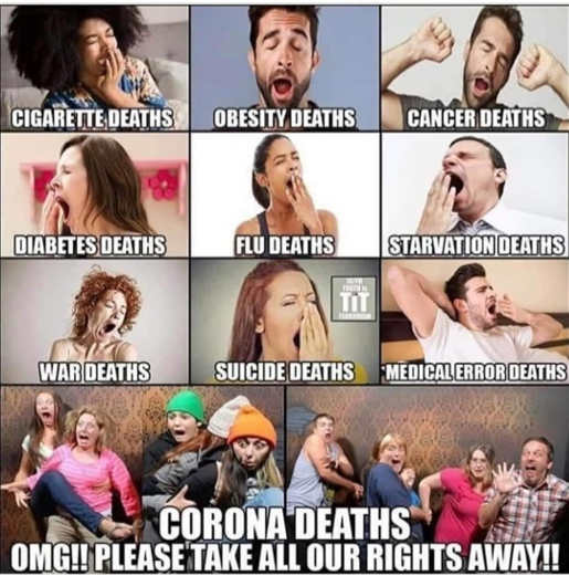 obesity cancer flu suicide war deaths yawn corona take rights away