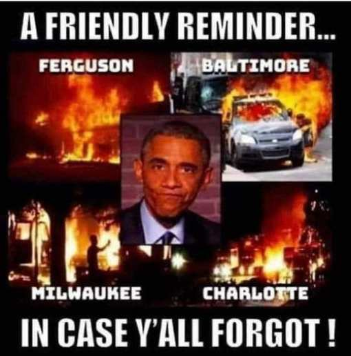 reminder obama ferguson baltimore milwaukee charlotte riots