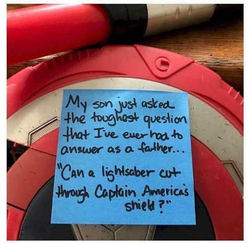 son asked dan can lightsaber cut through captain americas shield