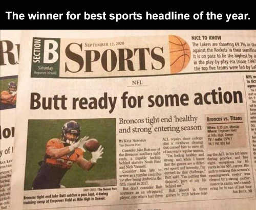 sports headline of year butt ready for some action