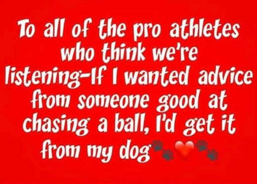 to pro athletes think were listening advice from someone chasing ball get it from dog