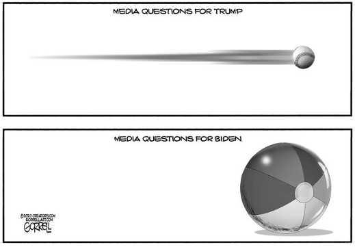 trump questions from media fastball joe biden beach ball