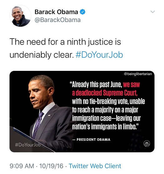 tweet barack obama need 9th justice do your job