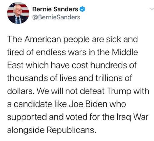 tweet bernie sanders people sick of middle east wars defeat trump candidate voted iraq war biden