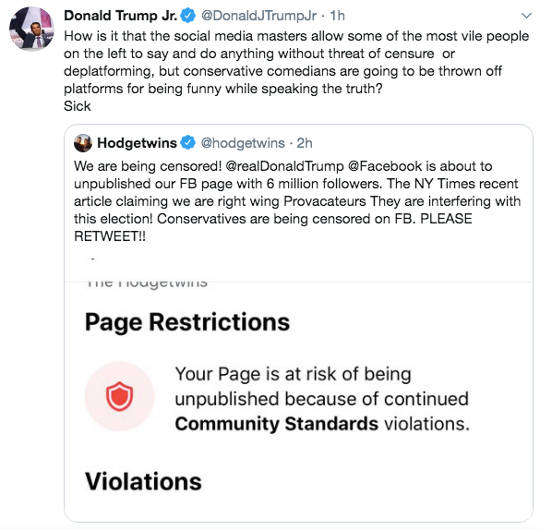 tweet donald trump jr hodge twins conservative comedians censored