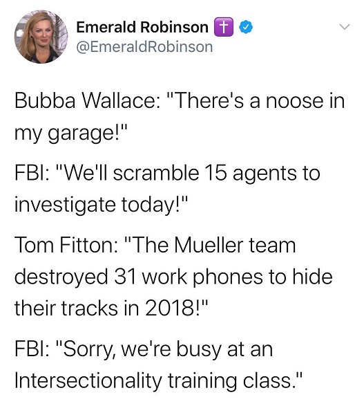 tweet robinson bubba wallace noose fitton mueller team intersectionality class