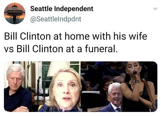 tweet seattle independent bill clinton at home with hillary vs at funeral