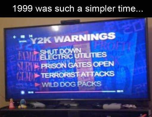 y2k warnings 1999 electric prison gates terrorist wild dog packs