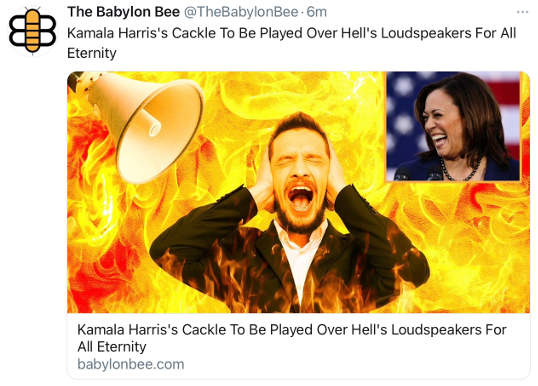 babylon bee kamala harris cackle to be played over hell loudspeakers eternity