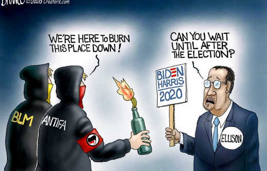 blm antifa here to burn this place down ellison can you wait until after election biden harris 2020