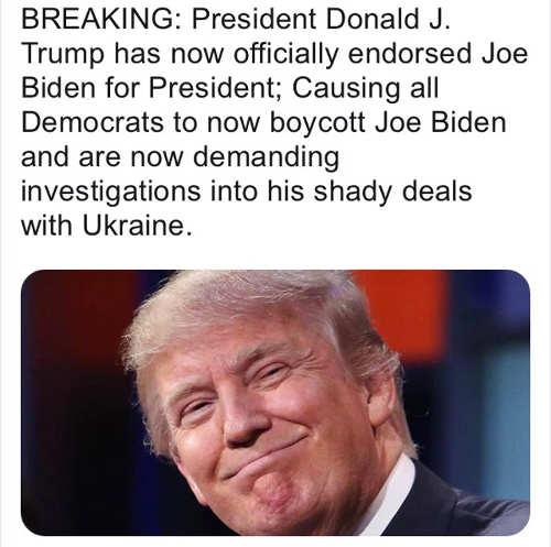 breaking trump endorses biden causing democrat boycott demand investigation ukraine deals