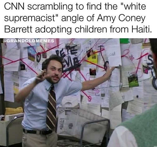 cnn scrambling find white supremacist angle amy coney barrett adopting children haiti
