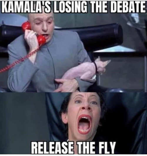 dr evil kamalas losing the debate release the fly
