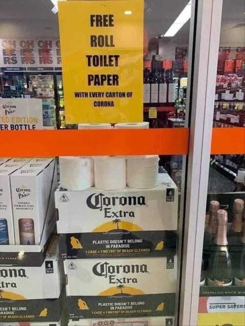 free roll toilet paper with purchase corona beer