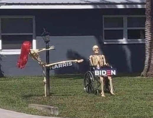 halloween harris biden skeleton display pole