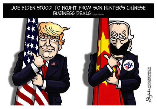 joe biden hugging chinese flag trump us flag hunter chinese profit