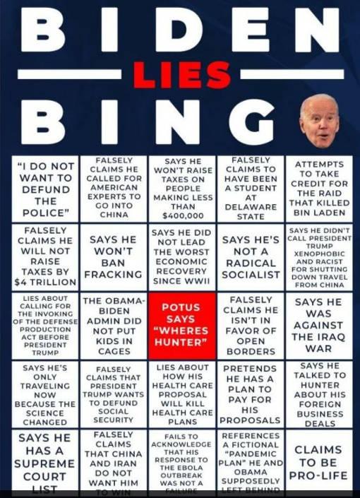 joe biden lies bingo card supreme court iran china fracking socialism iraq hunter