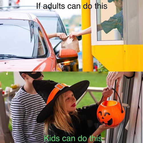 message if adults mcdonalds drive thru kids can trick or treat