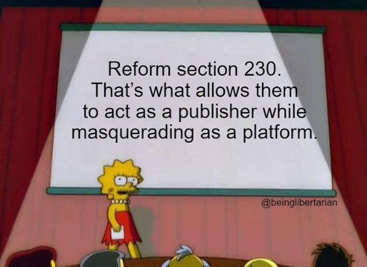 message reform section 230 big tech what allows them publisher masquerading as platform