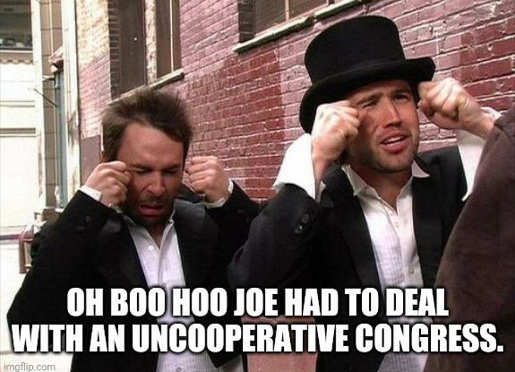 oh boo hoo joe biden had to deal with uncooperative congress