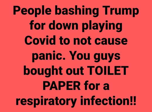 people bashing trump downpaying covid panic buying toilet paper for respiratory infection