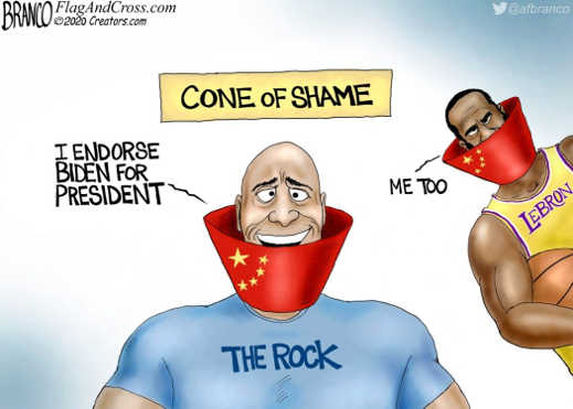 rock i endorse biden for president cone of shame chain lebron james me too