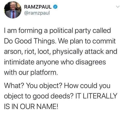 tweet blm ramzpaul forming political party called do good things riot loot arson