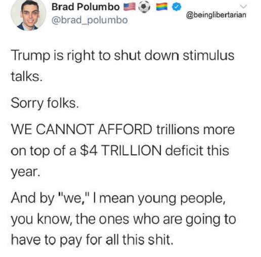 tweet brad polunmbo trump is right to shut down stimulus cant afford 4 trillion